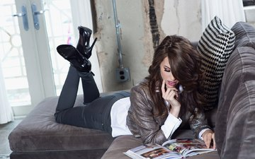 girl, hair, face, heels, sofa, book, playboy, caitlin mcswain