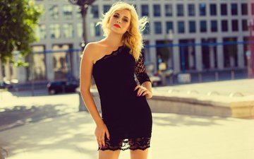girl, blonde, look, model, face, black dress