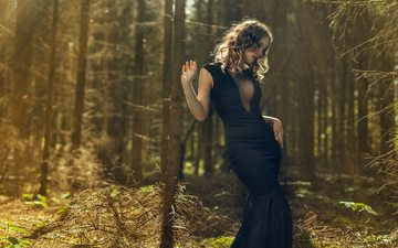 trees, forest, girl, look, hair, face, black dress, neckline