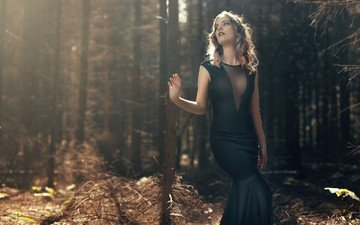 nature, forest, girl, look, hair, face, neckline
