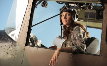 girl, the plane, cabin, pilot, look, aviation, helmet, lips, curls