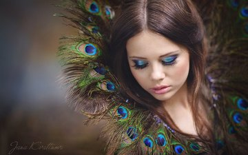 style, portrait, face, feathers, makeup, photoshoot, long hair