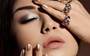 girl, hair, face, fingers, ring, makeup, closed eyes, manicure