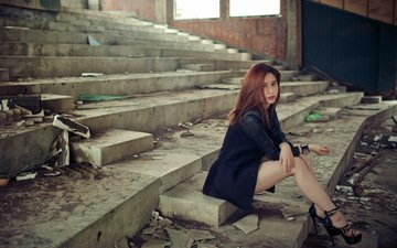 the ruins, ladder, steps, girl, look, red, sitting, face, heels, asian