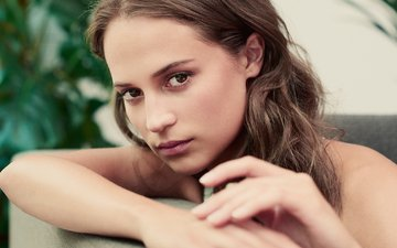 eyes, girl, portrait, look, model, hair, face, actress, photoshoot, alicia vikander