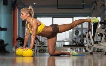 balls, girl, pose, sneakers, fitness, muscle, training, gym, sports uniforms