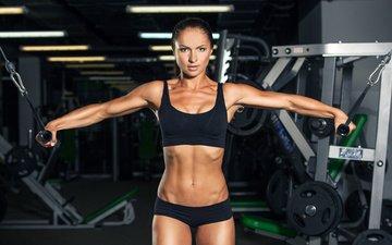 девушка, пресс, фитнес, бодибилдинг, тренировка, тренажерный зал, спортивная форма, разминка