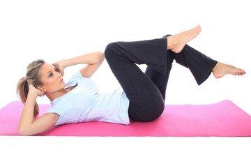 девушка, блондинка, спорт, фитнес, тренировка, упражнения