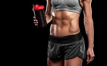 девушка, напиток, пресс, фитнес, спортивная одежда, спортивная форма
