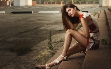 steps, girl, dress, pose, look, model, sitting, legs, face, jeanne khudyakov, ivan kopchenov