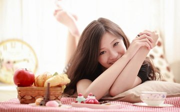 girl, smile, look, model, hair, face, breakfast, asian