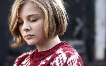 girl, hair, face, actress, sweater, chloe grace moretz, closed eyes