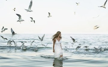 girl, sea, flight, blonde, wings, birds, seagulls, white dress