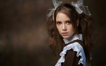 girl, portrait, look, form, model, schoolgirl, brown hair, bows, kseniya kokoreva, maxim maximov