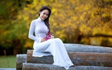 flowers, girl, sitting, asian, logs, white dress
