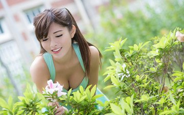 flowers, girl, smile, summer, garden, hair, face, japanese, asian
