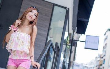 девушка, улыбка, лето, очки, волосы, лицо, азиатка, шорты