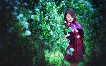 зелень, девушка, фон, сад, азиатка, стоит