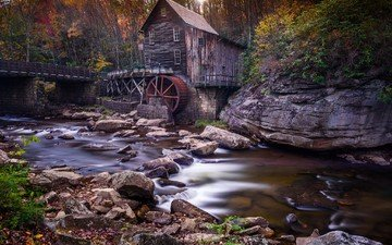 деревья, река, камни, лес, мост, осень, мельница, водяная мельница