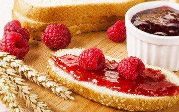 малина, колосья, хлеб, ягоды, булка, варенье