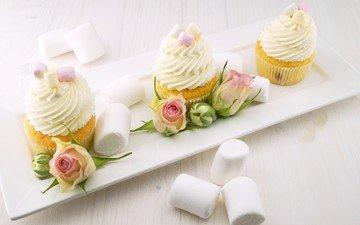 цветы, розы, десерт, зефир, кексы, маршмеллоу, крем, капкейки
