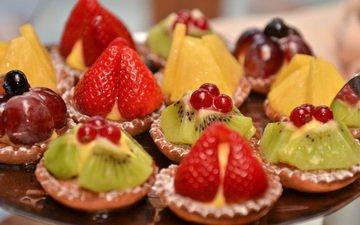 фрукты, клубника, ягоды, вишня, киви, десерт, желе, ананас, смородина, пирожное, крем, корзиночка