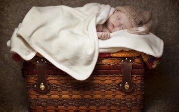 сон, дети, корзина, ребенок, одеяло, малыш, младенец, сундук