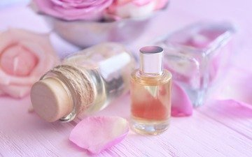 flowers, roses, petals, oil, aroma, perfume, bottle
