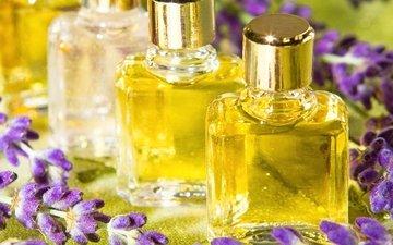 цветы, лаванда, масло, флаконы, аромат, духи