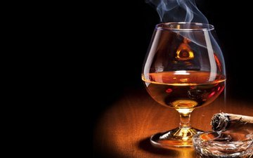 smoke, table, room, glass, alcohol, cognac, cigar, whiskey, environment, sigar