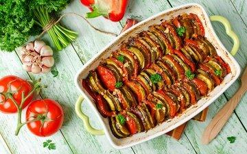 greens, vegetables, tomatoes, eggplant, garlic, parsley, casserole