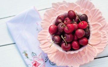 стол, черешня, ягоды, вишня, чашка, завтрак, салфетка, тарелка