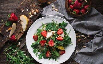 зелень, орехи, фрукты, клубника, ягоды, груши, салат, руккола