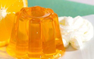 апельсин, сладкое, десерт, желе, крем