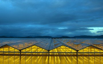 the sky, light, clouds, mountains, nature, landscape, glass, greenhouse