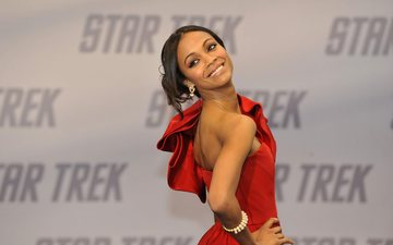 girl, smile, look, hair, face, actress, red dress, celebrity, zoe saldana