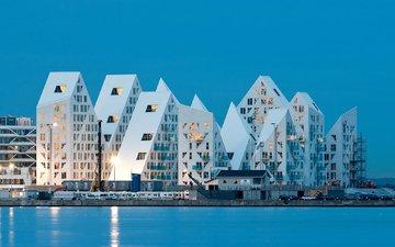 архитектура, дания, жилой комплекс айсберг, орхус