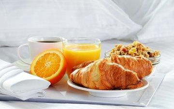 кофе, апельсин, завтрак, сок, круассаны