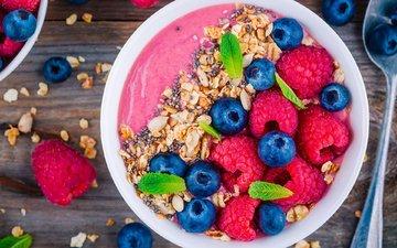 berries, breakfast, muesli, yogurt
