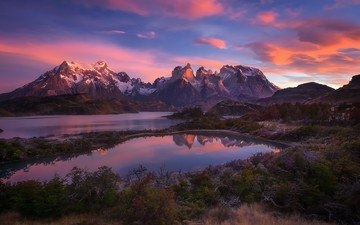 the sky, clouds, lake, mountains, sunset, reflection, andes, patagonia, south america