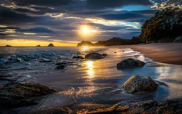 clouds, rocks, stones, wave, sunset, landscape, sea, sand, beach, coast, new zealand, tasman. new zealand, tasman
