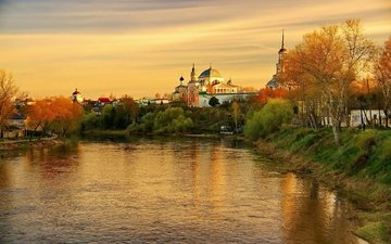the evening, river, sunset, reflection, the city, autumn, russia, tver oblast, torzhok.