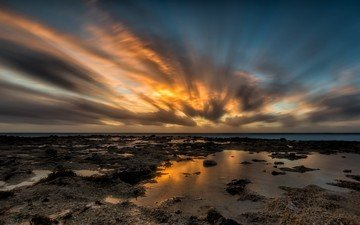 the sky, clouds, shore, sea, horizon, sunset