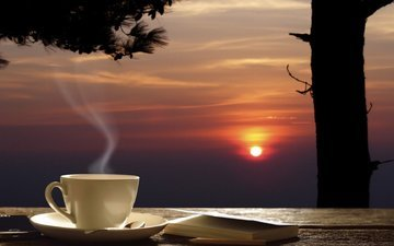 вечер, дерево, закат, кофе, стол, чашка, телефон, записная книжка