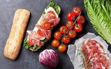 бутерброд, сыр, багет, овощи, помидоры, капуста, сэндвич, бекон, батон, нарезка, моцарелла