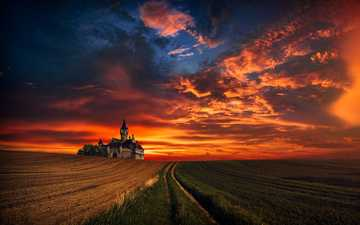 the sky, clouds, sunset, field, horizon, castle, hmetosche, hmetoch inadias