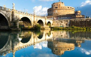 the sky, clouds, water, river, reflection, bridge, italy, rome, castel sant'angelo, the tiber