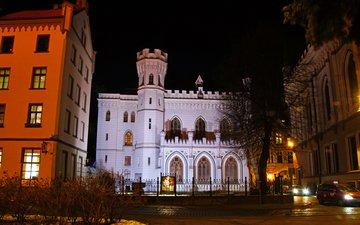 ночь, город, улица, здания, латвия, рига, здание большой гильдии, biskapa gate