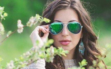 girl, branches, glasses, hair, face, earrings