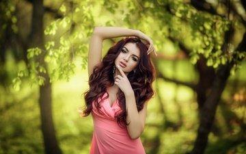trees, nature, dress, pose, branches, model, makeup, photoshoot, brown hair, katya, hakan erenler